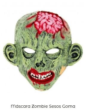 máscara sesos disfraz de zombi