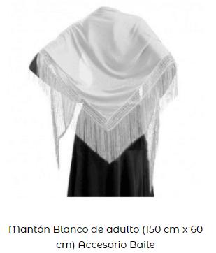 mantón flecos blanco flamenco