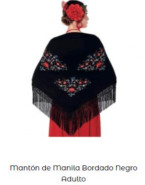 mantón flecos flamenco flores rosalía
