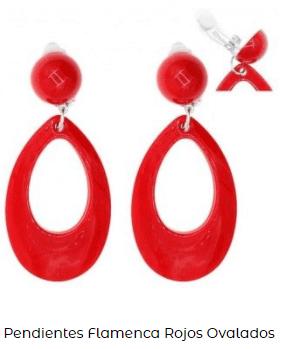 pendientes aros rojos flamenca disfraz rosalía