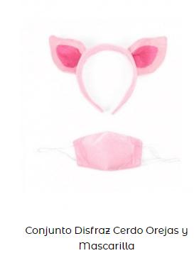 conjunto disfraz mascarilla covid cerdo