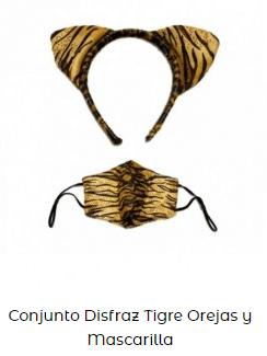conjunto disfraz mascarilla covid tigre