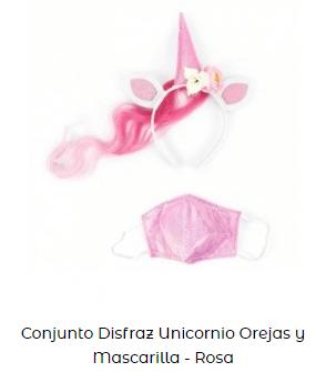 conjunto disfraz mascarilla covid unicornio rosa