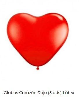 decoración día san Valentín globo corazón rojo