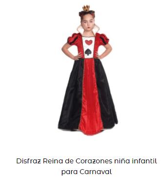 disfraz reina de corazones niña alicia en el país de las maravillas
