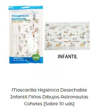 mascarilla desechable niños coronavirus astronautas