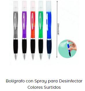 productos de desinfección covid-19 bolígrafos