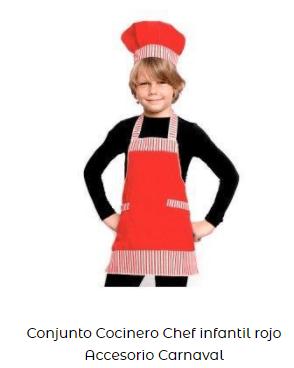disfraz conjunto de cocinero para niños