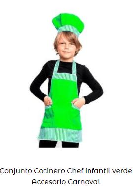 disfraz conjunto de cocinero infantil