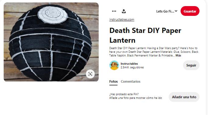 decoración estrella de la muerte star wars caseros