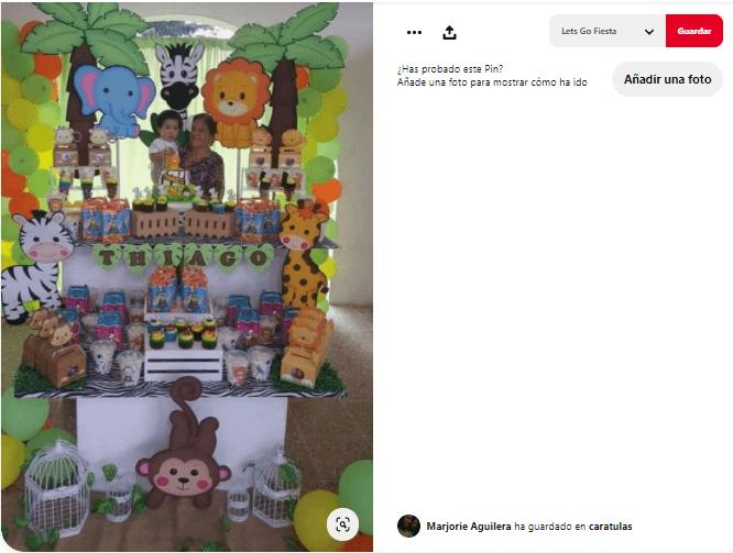 decoración cumpleaños animales de selva