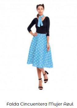 día de la danza disfraz años 50 mujer falda
