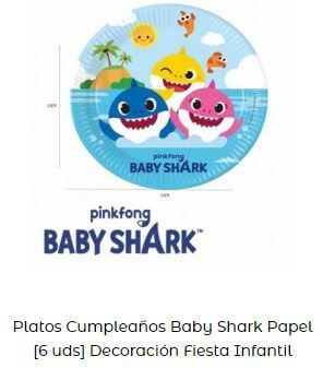 baby shark platos bautizos