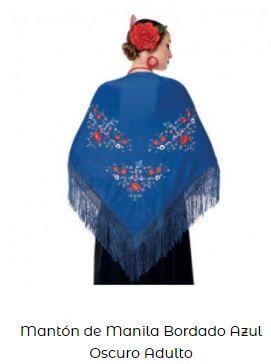 mantón de chulapa azul flores