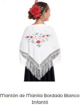 mantón de chulapa blanco flores