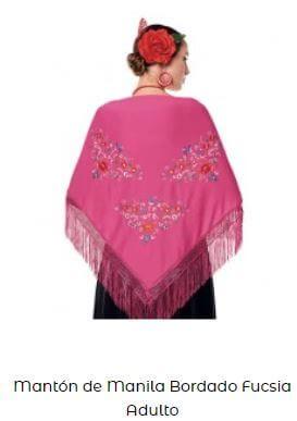 mantón de chulapa fucsia rosa flores