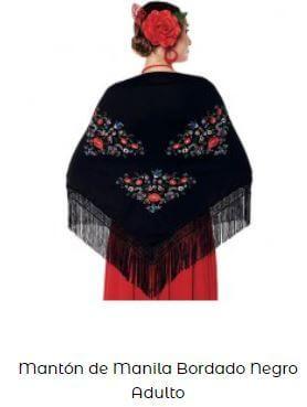 mantón de chulapa negro flores