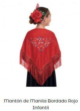 mantón de chulapa rojo flores