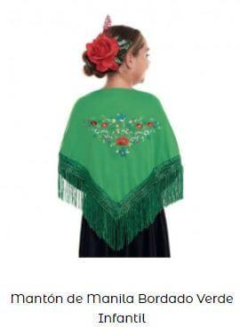 mantón de chulapa verde flores