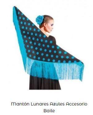 mantoncillo de flamenca mantón manila lunares azul