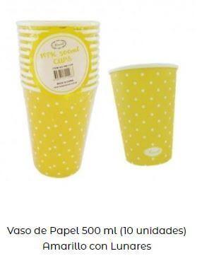 decoración con amarillo vasos