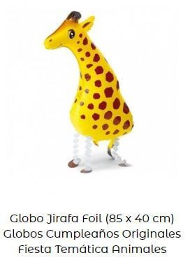 decoración con globos amarillos jirafa
