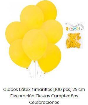 decoración con globos amarillos