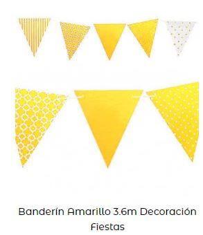 decoración con amarillo banderines