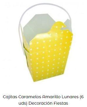 decoración en amarillo cajas