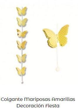 decoración en amarillo mariposas guirnalda