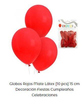 decoración san fermines globos rojos