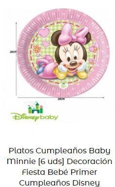 decoración Mickey Minnie bebé platos mesa