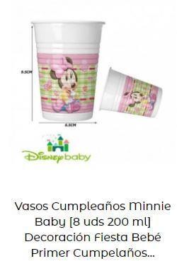 decoración Mickey Minnie bebé vasos mesa