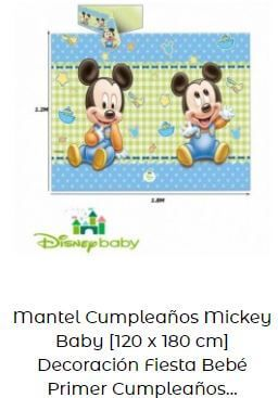 decoración Mickey bebé mantel mesa