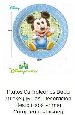 decoración Mickey bebé platos mesa