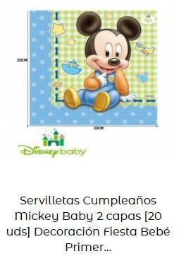 decoración Mickey bebé servilletas mesa