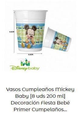 decoración Mickey bebé vasos mesa