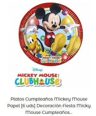 decoración cumpleaños Mickey platos