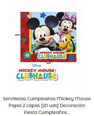 decoración cumpleaños Mickey servilletas