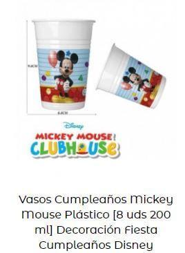 decoración cumpleaños Mickey vasos