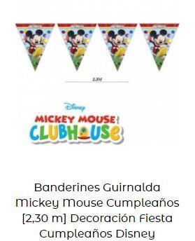 decoración fiesta cumpleaños Mickey Mouse banderines