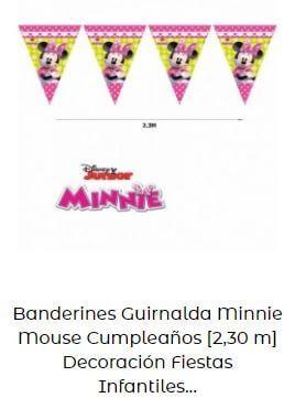 decoración fiesta cumpleaños Minnie Mouse banderines