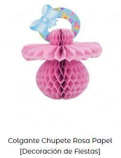 chupete decoración baby shower colgante papel