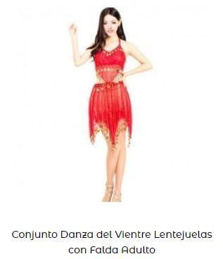 vestido conjunto bellydance falda y top mujer