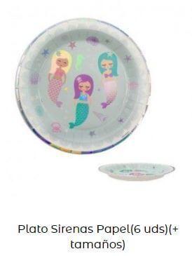 decoración cumpleaños sirenas mesa platos