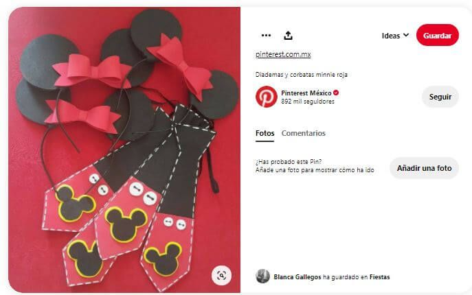 diademas corbatas Minnie Mickey mouse fiesta cumpleaños