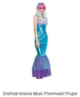 disfraz sirena mujer azul