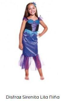 disfraz sirena niña morado