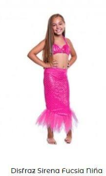disfraz sirena niña rosa