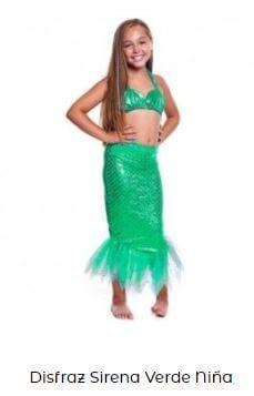 disfraz sirena niña verde